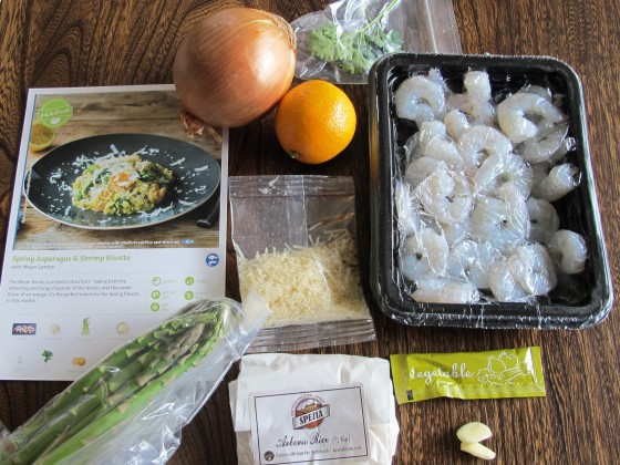 Contents that came in the box for Shrimp and Asparagus risotto)