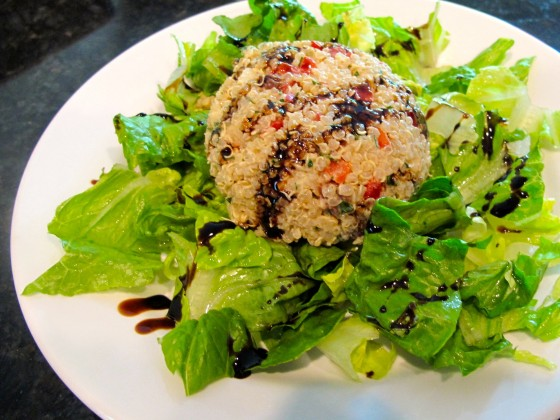 Sweet Quinoa Salad with Creamy Balsamic Dressing over Romaine