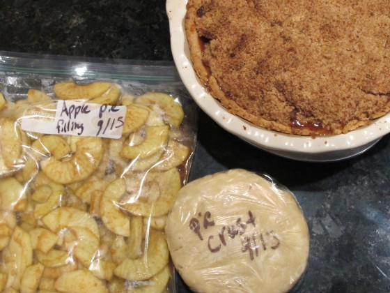 Apple pie baked and prep for freezer apple pie