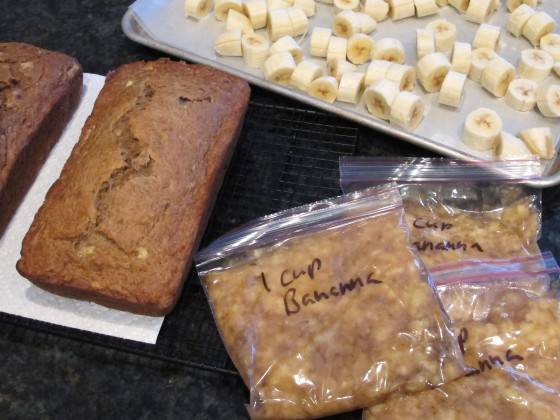 Banana bread, sliced frozen bananas and mashed banana portioned out for easy baking