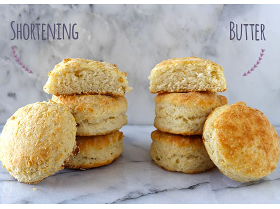 shortening and butter in baking biscuits