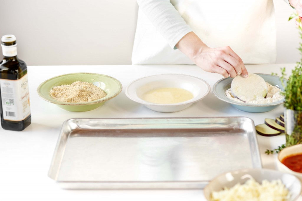 Set up your breading station with flour, egg wash and breadcrumb/cheese mixture for easy assembly.