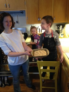 The kids and I made the bread recipe tonight. They love helping me in the kitchen and they did a great job. It's great that the recipe is so simple that they can help without too much trouble managing the two. Thanks! Felicia G