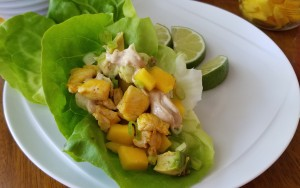 Jerk chicken, avocado and mango lettuce wraps