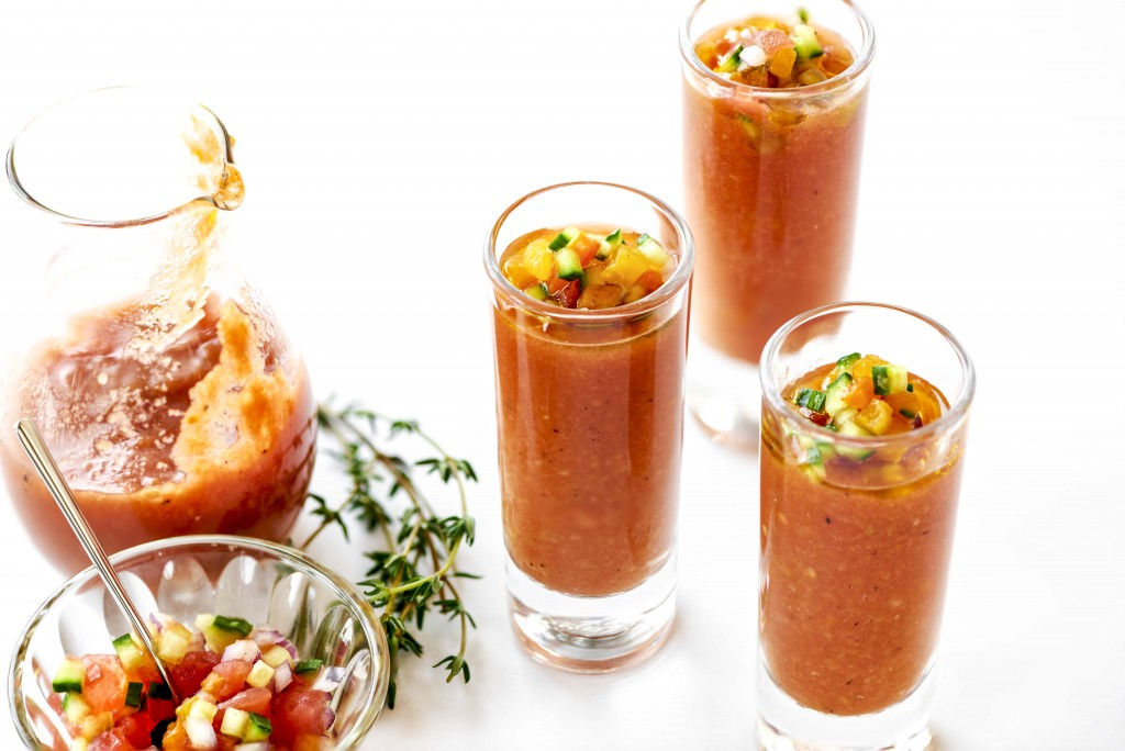 Grilled Summer Gazpacho Shooters