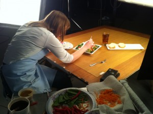 Making the food look perfect for photo, no I don't cook with tweezers at home.
